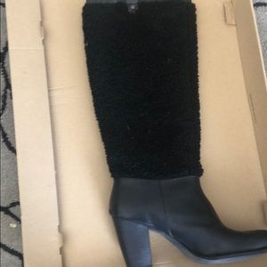 UGG Black Leather Ava Exposed Fur Boots